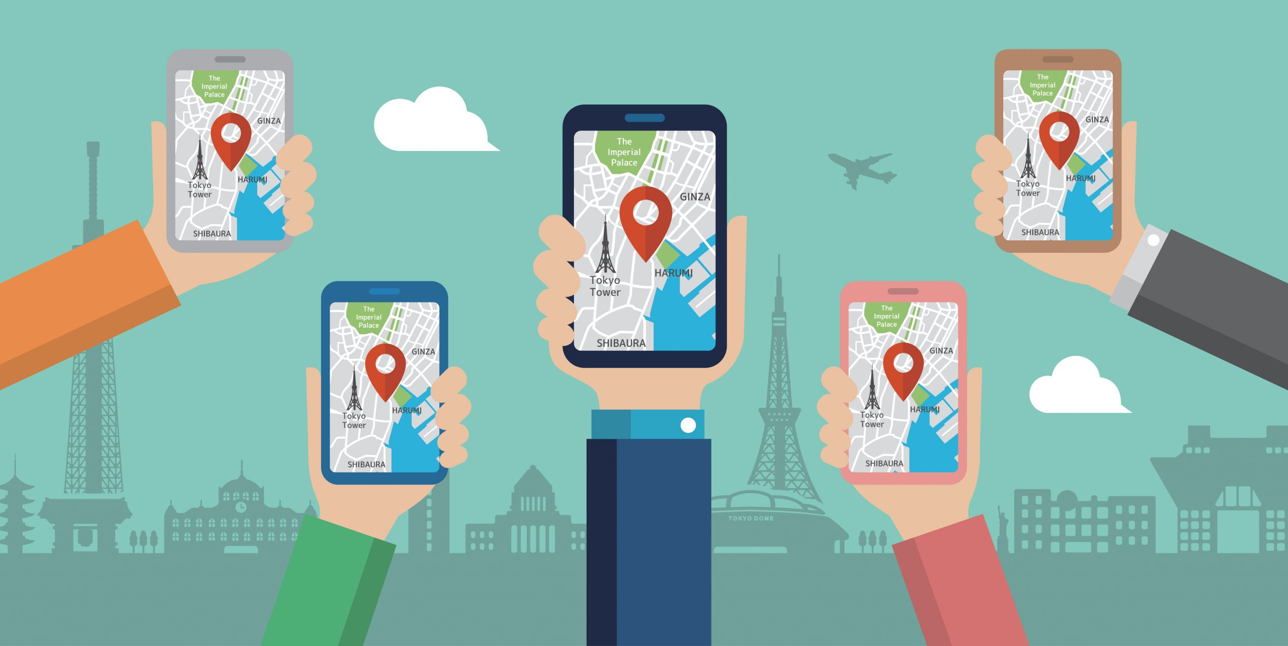 Mobile users holding up smartphones with google maps open